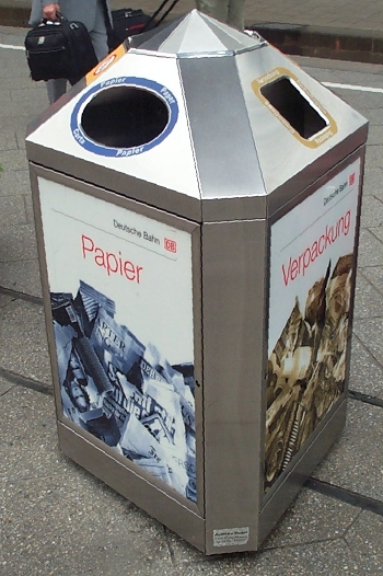 A foreign recycling bin.